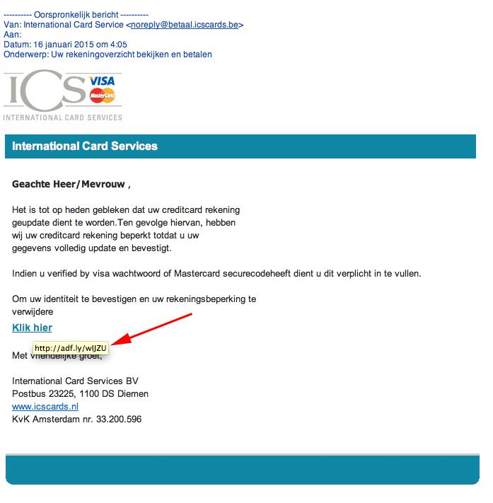 Valse mail Visa: 'uw rekening wordt beperkt'