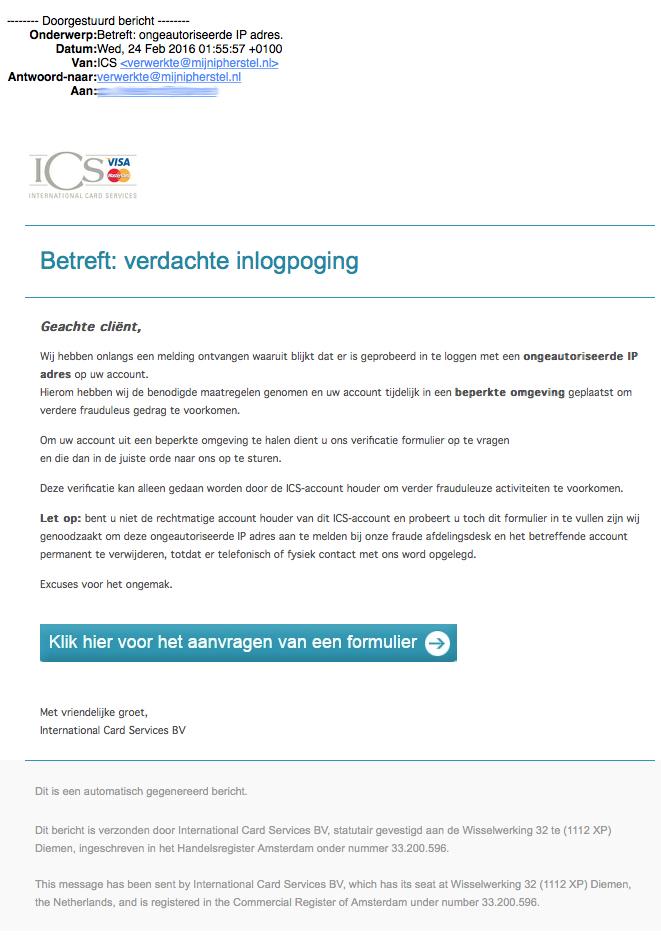 Valse e-mail ICS: verdachte inlogpoging