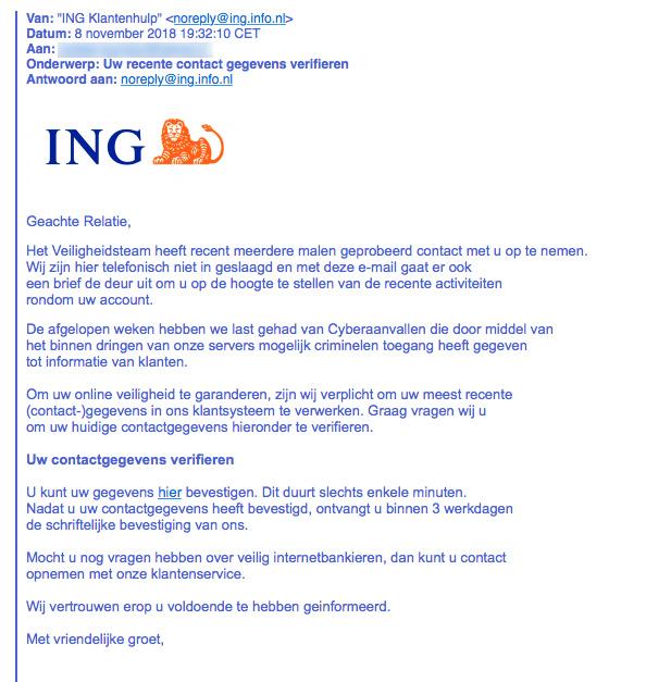 Phishingmail ING: nieuwe betaalpas