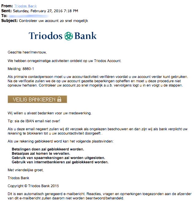 Valse e-mail 'Triodos bank'