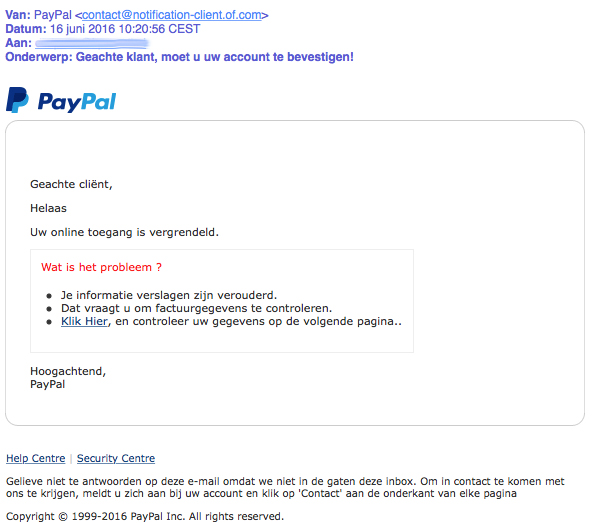 Trap niet in valse 'PayPal' e-mail