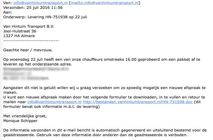 Pas op voor valse e-mails over levering