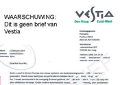 Vestia waarschuwt voor valse brief