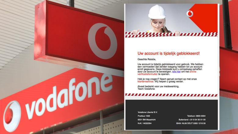 Phishingmail Vodafone: 'Uw account is tijdelijk geblokkeerd'