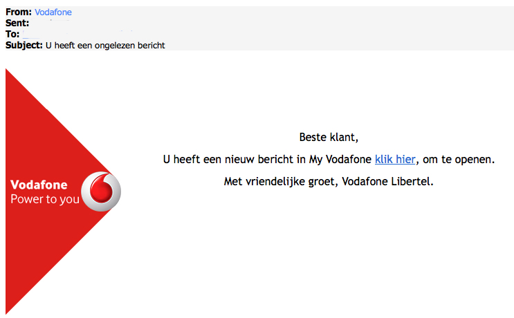 Valse e-mail 'Vodafone': U heeft een ongelezen bericht