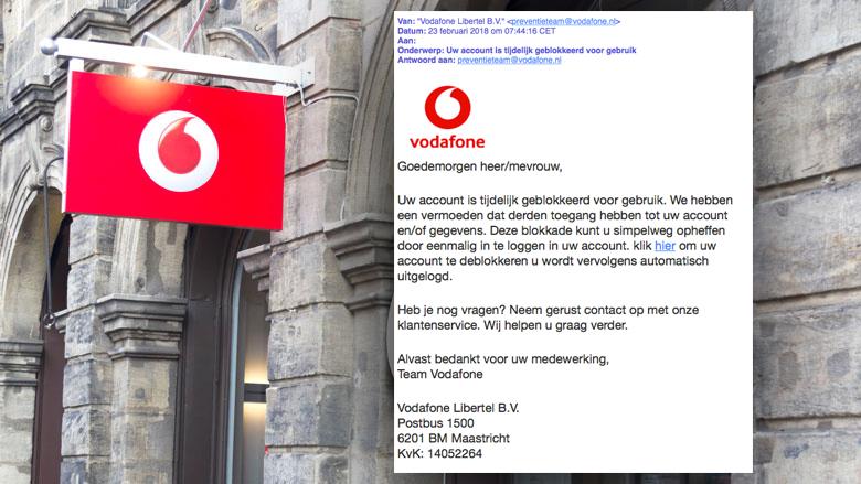 Bericht 'Vodafone' over geblokkeerd account is phishing