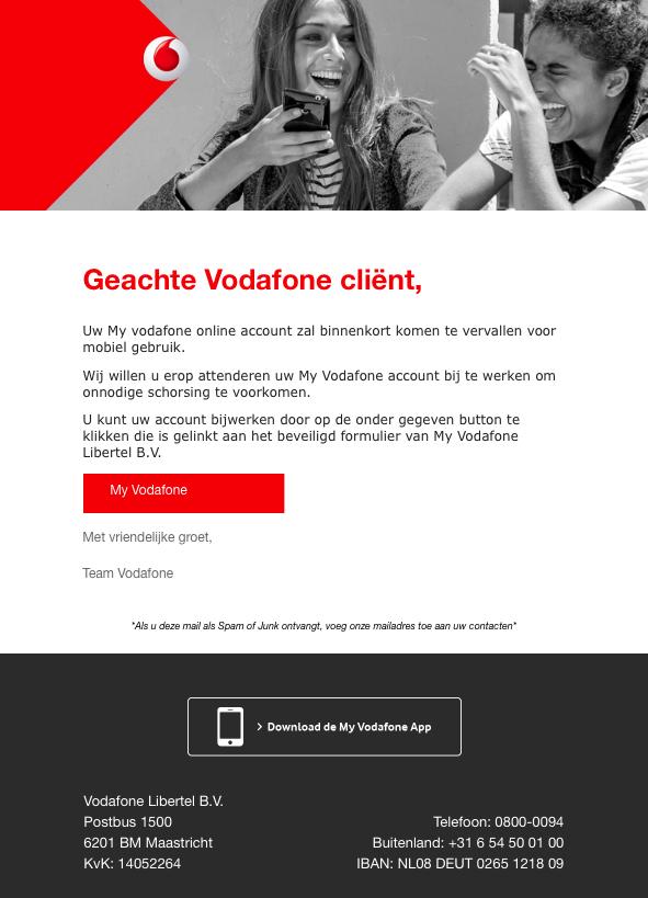 Valse e-mail Vodafone: uitslag administratief onderzoek