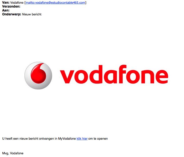Opnieuw valse e-mail 'Vodafone' over een bericht