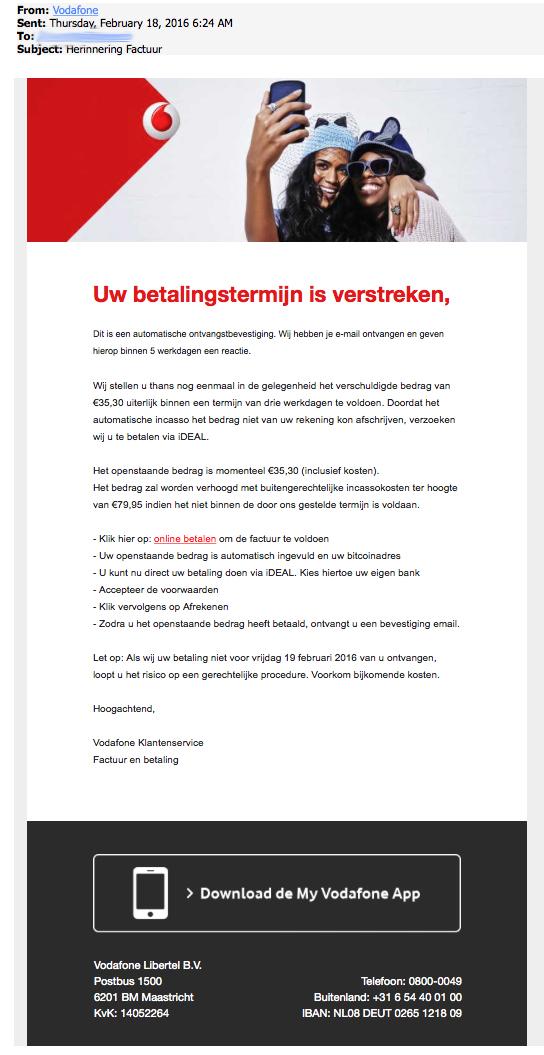 Nepfactuur 'Vodafone' in omloop