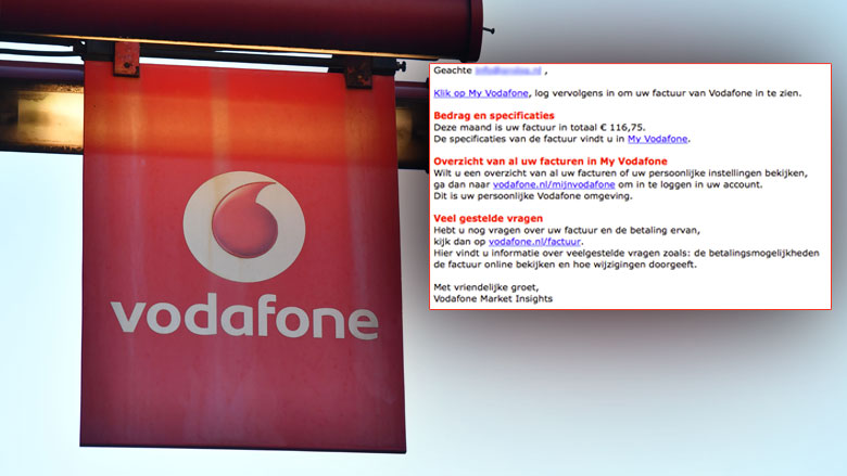 E-mail 'Vodafone' over factuur blijkt phishing