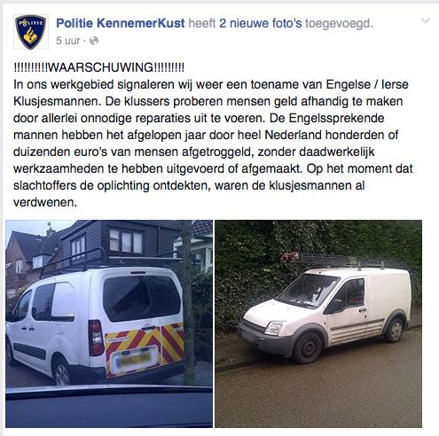 Politie waarschuwt voor Engelse/Ierse klusjesmannen