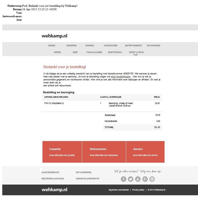 Valse e-mail Wehkamp bevat malware