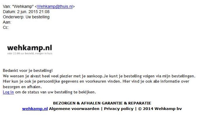 Pas op voor valse Wehkamp-mail!