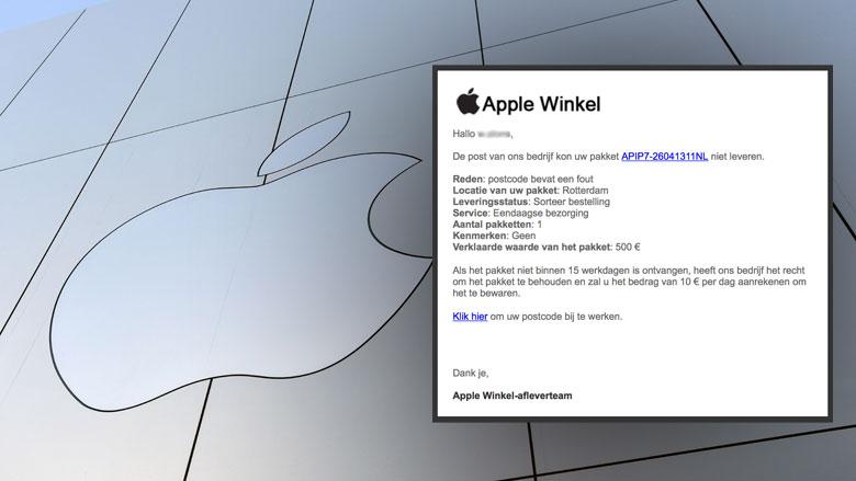 Mail van 'Apple' over postcodefout blijkt valse winactie