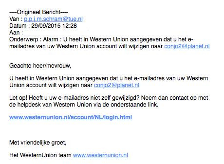 Valse mail Western Union over wijziging mailadres