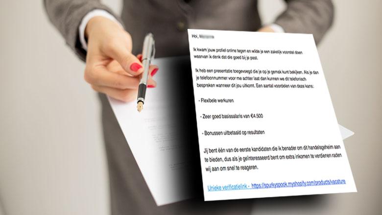 Opnieuw meldingen over e-mail met zakelijk voorstel