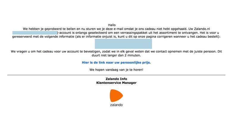 Valse mail over verrassingspakket van 'Zalando'