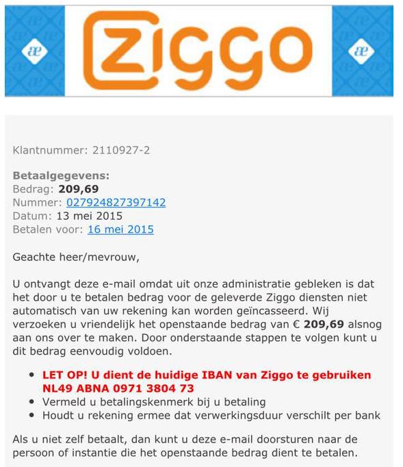 Valse mail Ziggo: 'openstaand bedrag betalen'