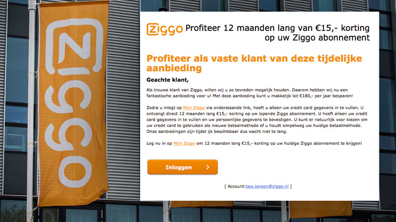 'Ziggo-mail' over korting is vals