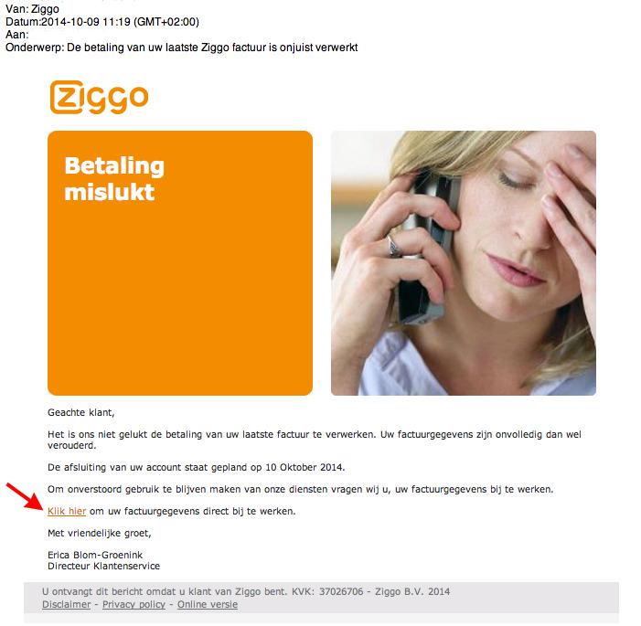 Valse e-mail Ziggo: betaling onjuist verwerkt