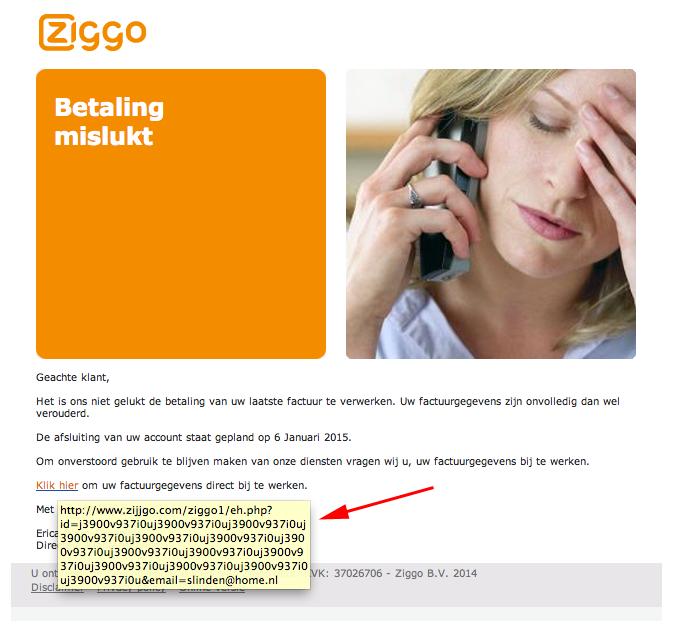 Let op! Valse e-mail uit naam van Ziggo
