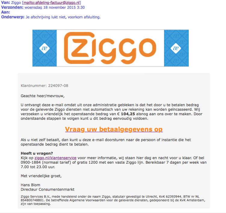 Opnieuw valse mail Ziggo over betaling