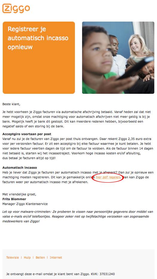 Valse e-mail uit naam van Ziggo