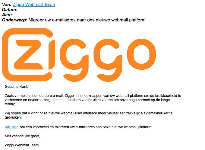 Pas op voor tweetalige nepmail 'Ziggo'