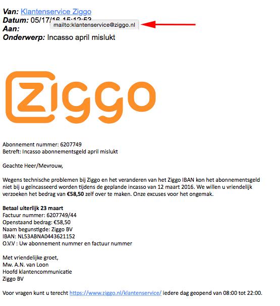 Phishingmail uit naam van Ziggo