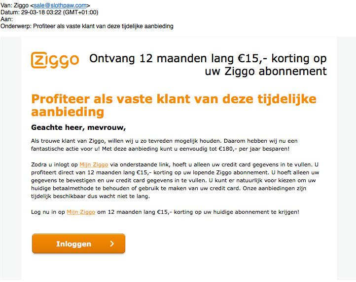 Phishingsite 'Ziggo' lijkt sprekend op echte site
