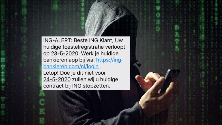 Sms van +316 4231 9610 over toestelregistratie 'ING' is phishing