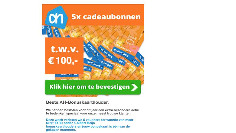 Ga niet in op misleidende winactie 'Albert Heijn'