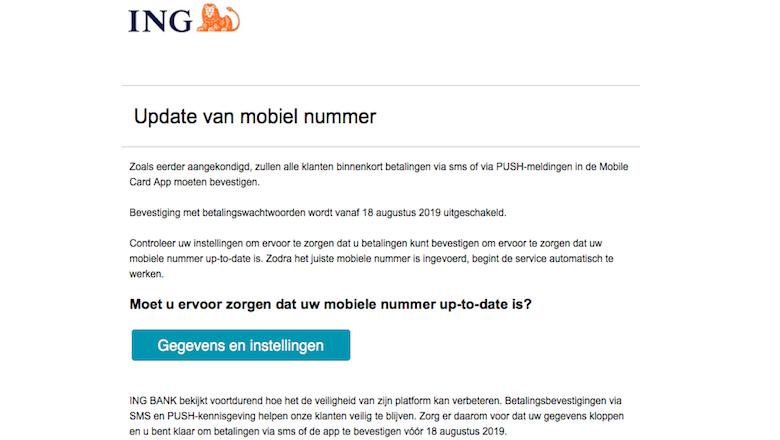 Mail van 'ING' over het bijwerken van je mobiele nummer? Direct weggooien!