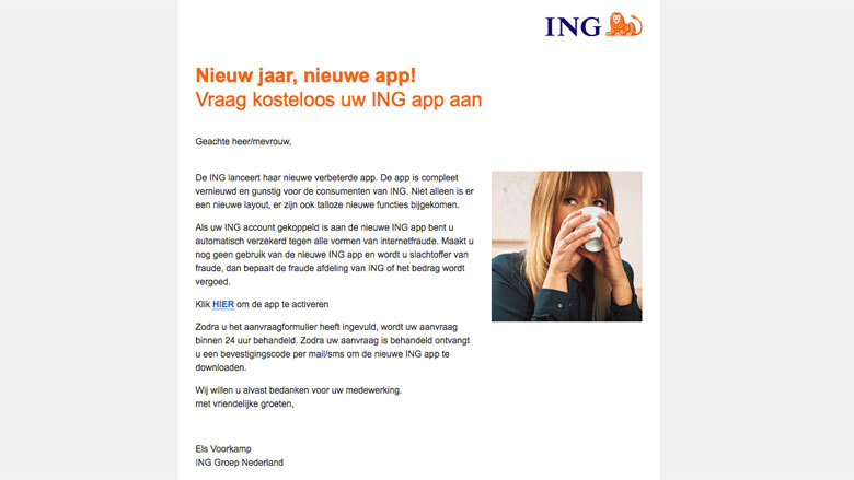 Trap niet in e-mail over 'ING-app'