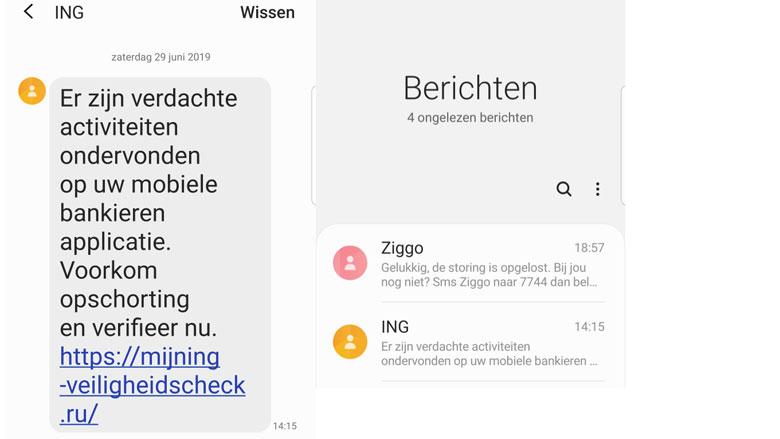 'ING'-sms over verdachte activiteiten is nep!