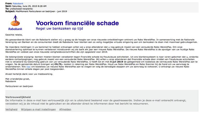 'Rabobank'-mail over Rabo WereldPas is vals