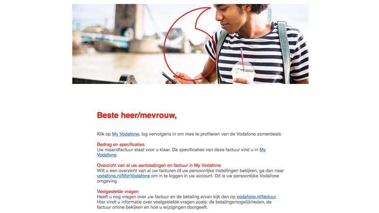Nepmails van 'Vodafone' nog steeds in omloop