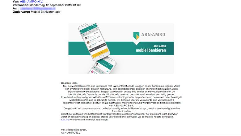 Verwijder mail van 'ABN AMRO' over vernieuwde app