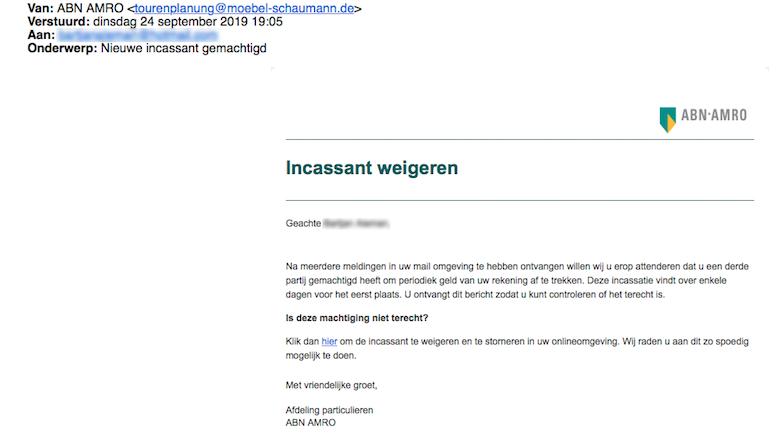 Er is een overtuigende valse mail van 'ABN AMRO' in omloop
