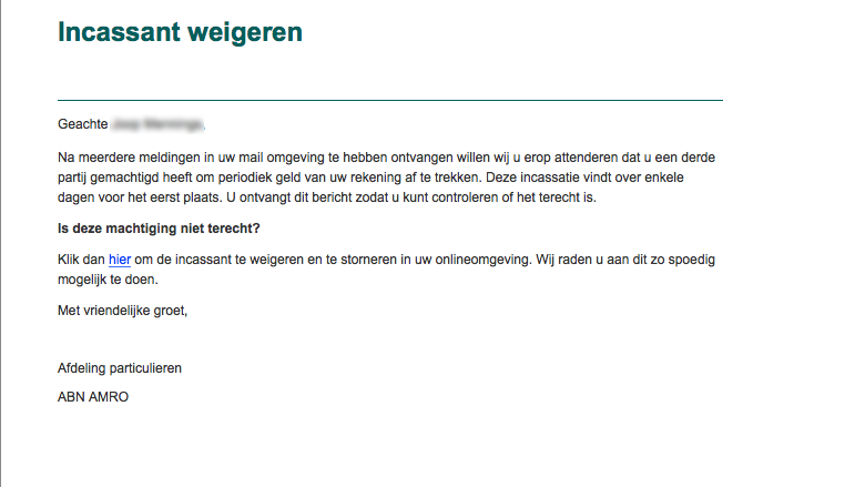 Mail van 'ABN AMRO' over weigeren incassant is vals