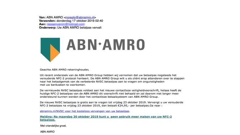 Klanten van ABN AMRO moeten uitkijken voor een valse mail