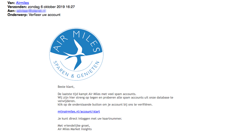 Mail van 'Air Miles' over verificatie account is nep