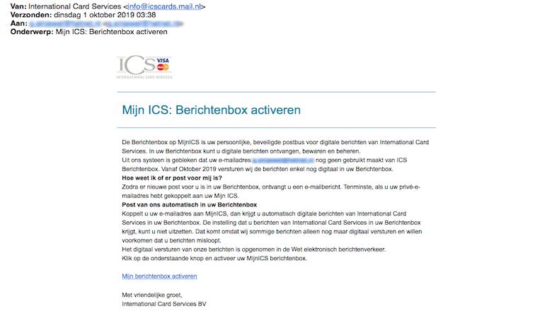 Valse mails van 'ICS' nog altijd in omloop