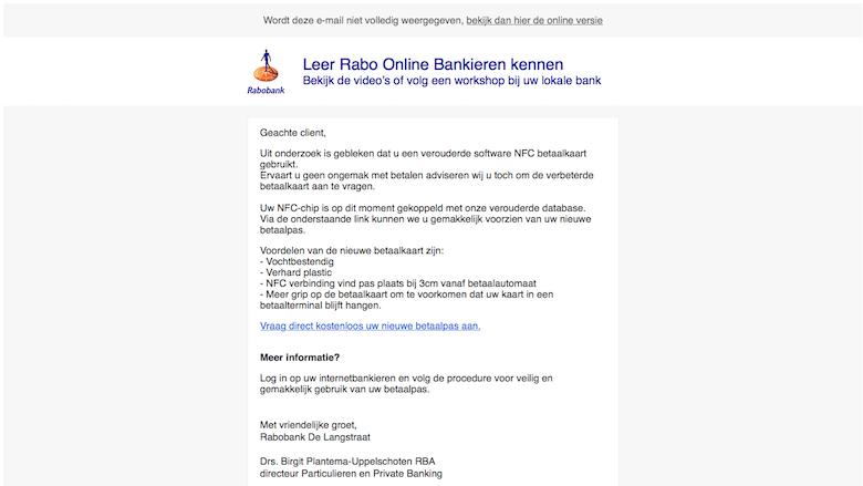 Nieuwe variant 'Rabobank'-phishingmail in omloop