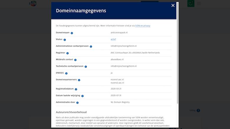 Informatie over het domein anticoronapack.nl