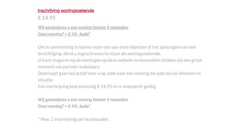 De toezegging van Arrow-huurwoningen.nl