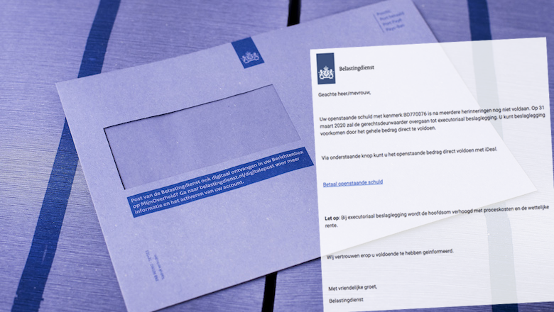 Mail van 'Belastingdienst' over belastingschuld met kenmerk BD770076 is vals