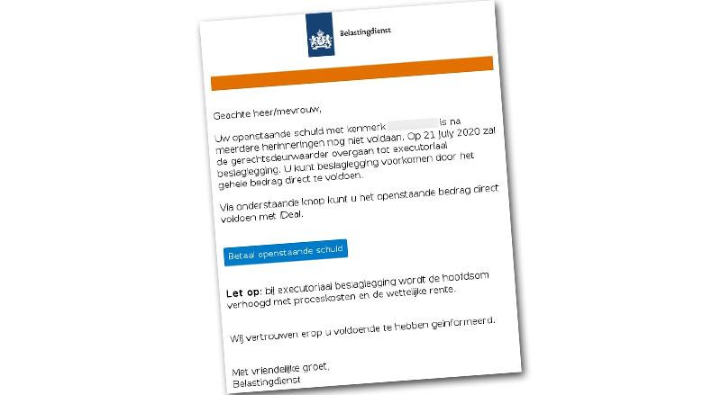 Mail over een schuld bij de Belastingdienst? Betaal niet!