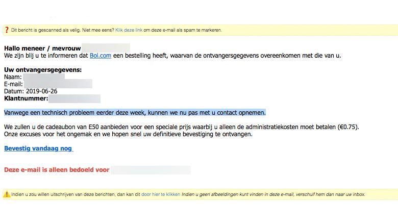 Valse mail over Bol-bestelling