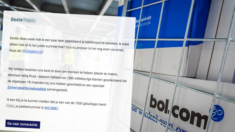 Winactie van 'Bol.com' over een zomervakantie-cadeaupakket? Vals!